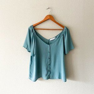 All In Favor NWT Teal Button Down Puff Sleeve